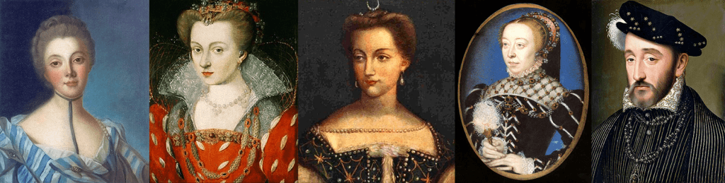 מימין לשמאל: אנרי השני, מלך צרפת; קטרינה דה מדיצ'י, אשתו; דיאן דה פואטייה, המאהבת; לואיז מלורן, הכלה; לואיז דופן, בעלת הסלון הספרותי